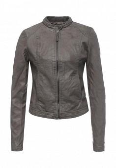 Куртка кожаная, Alcott, цвет: серый. Артикул: AL006EWRAV42. Женская одежда / Верхняя одежда / Кожаные куртки
