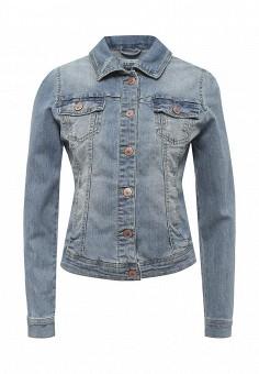 Куртка джинсовая, Alcott, цвет: голубой. Артикул: AL006EWRAV46. Женская одежда / Верхняя одежда / Джинсовые куртки