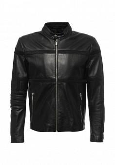 Куртка кожаная, Bikkembergs, цвет: черный. Артикул: BI535EMQAU71. Мужская одежда / Верхняя одежда / Кожаные куртки