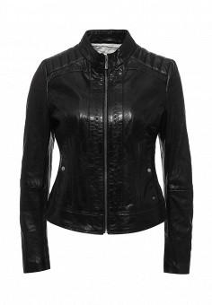 Куртка кожаная, Boss Orange, цвет: черный. Артикул: BO456EWNOX27. Женская одежда / Верхняя одежда / Кожаные куртки