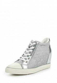 Кеды на танкетке, Calvin Klein Jeans, цвет: серебряный. Артикул: CA939AWSJU51. Женская обувь / Кроссовки и кеды