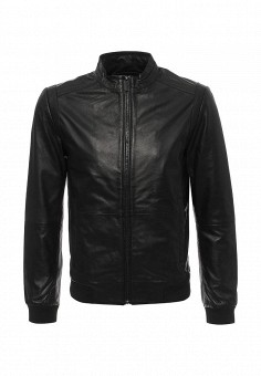 Куртка кожаная, Calvin Klein Jeans, цвет: черный. Артикул: CA939EMQQO04. Мужская одежда / Верхняя одежда / Кожаные куртки