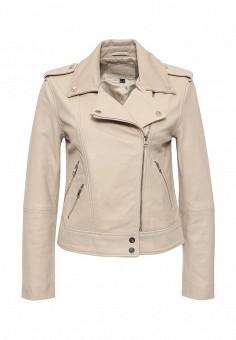 Куртка кожаная, Cortefiel, цвет: бежевый. Артикул: CO046EWRCS64. Женская одежда / Верхняя одежда / Кожаные куртки