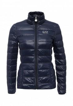 Пуховик, EA7, цвет: синий. Артикул: EA002EWJXT79. Женская одежда / Верхняя одежда / Пуховики и зимние куртки