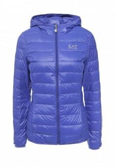Пуховик, EA7, цвет: синий. Артикул: EA002EWRBB94. Женская одежда / Верхняя одежда / Пуховики и зимние куртки