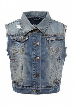 Жилет джинсовый, F5, цвет: синий. Артикул: FF101EWTKZ53. Женская одежда / Верхняя одежда / Жилеты