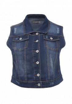 Жилет джинсовый, Fiorella Rubino, цвет: синий. Артикул: FI013EWRZI90. Женская одежда / Верхняя одежда / Жилеты / Джинсовые жилеты