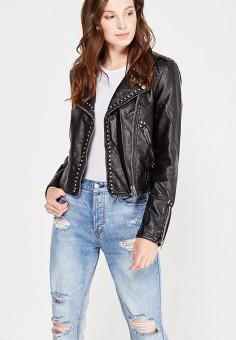 Куртка кожаная, Free People, цвет: черный. Артикул: FR045EWUED53. Женская одежда / Верхняя одежда / Косухи