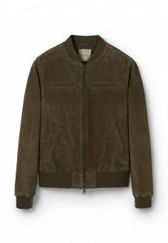 Куртка кожаная, Mango Man, цвет: хаки. Артикул: HE002EMKVZ87. Мужская одежда / Верхняя одежда / Кожаные куртки