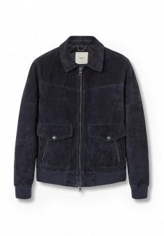 Куртка кожаная, Mango Man, цвет: синий. Артикул: HE002EMKWA20. Мужская одежда / Верхняя одежда / Кожаные куртки
