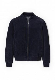 Куртка кожаная, Mango Man, цвет: синий. Артикул: HE002EMRSK45. Мужская одежда / Верхняя одежда / Кожаные куртки