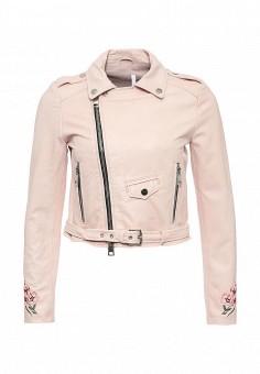 Куртка кожаная, Imperial, цвет: розовый. Артикул: IM004EWSUX68. Женская одежда / Верхняя одежда / Кожаные куртки