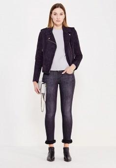 Куртка кожаная, Liu Jo, цвет: синий. Артикул: LI687EWUDN02. Женская одежда / Верхняя одежда / Косухи