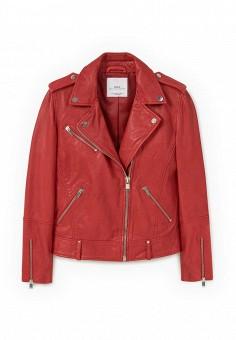 Куртка кожаная, Mango, цвет: красный. Артикул: MA002EWJWC57. Женская одежда / Верхняя одежда / Кожаные куртки
