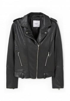 Куртка кожаная, Mango, цвет: черный. Артикул: MA002EWKWE14. Женская одежда / Верхняя одежда / Кожаные куртки
