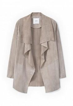 Куртка кожаная, Mango, цвет: бежевый. Артикул: MA002EWLKC38. Женская одежда / Верхняя одежда / Кожаные куртки
