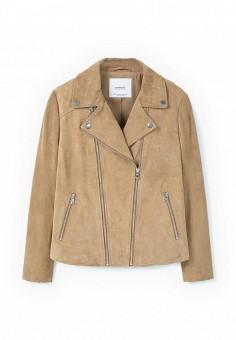 Куртка кожаная, Mango, цвет: бежевый. Артикул: MA002EWLVE64. Женская одежда / Верхняя одежда / Кожаные куртки