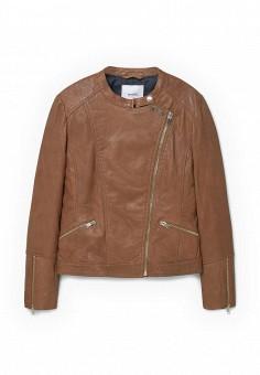 Куртка кожаная, Mango, цвет: коричневый. Артикул: MA002EWLVE65. Женская одежда / Верхняя одежда / Кожаные куртки