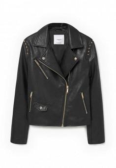Куртка кожаная, Mango, цвет: черный. Артикул: MA002EWMDM49. Женская одежда / Верхняя одежда / Кожаные куртки