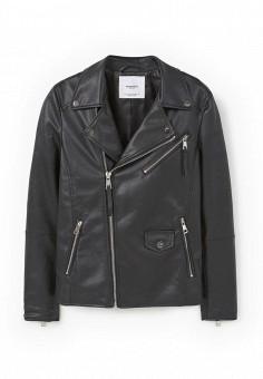 Куртка кожаная, Mango, цвет: черный. Артикул: MA002EWMPD48. Женская одежда / Верхняя одежда / Кожаные куртки