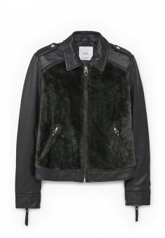 Куртка кожаная, Mango, цвет: черный. Артикул: MA002EWNEW47. Женская одежда / Верхняя одежда / Кожаные куртки