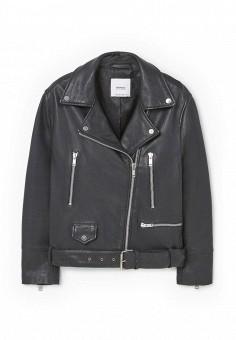 Куртка кожаная, Mango, цвет: черный. Артикул: MA002EWPHP82. Женская одежда / Верхняя одежда / Косухи