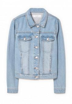 Куртка джинсовая, Mango, цвет: голубой. Артикул: MA002EWPXM23. Женская одежда / Верхняя одежда / Джинсовые куртки
