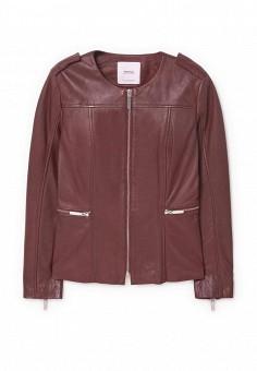 Куртка кожаная, Mango, цвет: бордовый. Артикул: MA002EWQBN83. Женская одежда / Верхняя одежда / Кожаные куртки