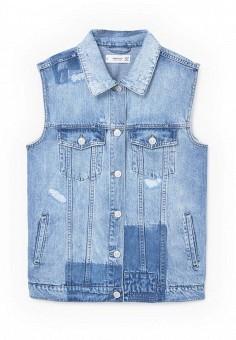 Жилет джинсовый, Mango, цвет: голубой. Артикул: MA002EWRUG78. Женская одежда / Верхняя одежда / Жилеты