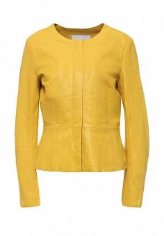 Куртка кожаная, Max&Co, цвет: желтый. Артикул: MA111EWOLS65. Женская одежда / Верхняя одежда / Кожаные куртки