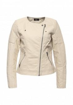 Куртка кожаная, Only, цвет: бежевый. Артикул: ON380EWOGP38. Женская одежда / Верхняя одежда / Кожаные куртки