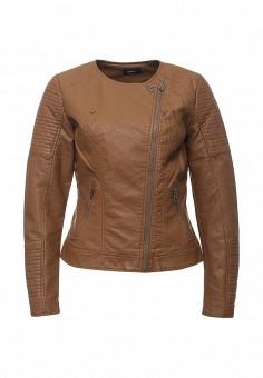 Куртка кожаная, Only, цвет: коричневый. Артикул: ON380EWOGP41. Женская одежда / Верхняя одежда / Кожаные куртки