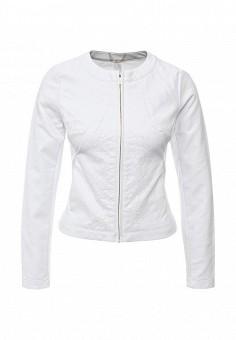 Куртка кожаная, oodji, цвет: белый. Артикул: OO001EWIYF78. Женская одежда / Верхняя одежда / Кожаные куртки