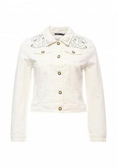 Куртка джинсовая, oodji, цвет: белый. Артикул: OO001EWPMT60. Женская одежда / Верхняя одежда / Джинсовые куртки
