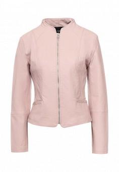 Куртка кожаная, oodji, цвет: розовый. Артикул: OO001EWQWS77. Женская одежда / Верхняя одежда / Кожаные куртки