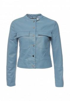 Куртка кожаная, oodji, цвет: голубой. Артикул: OO001EWQYR62. Женская одежда / Верхняя одежда / Кожаные куртки