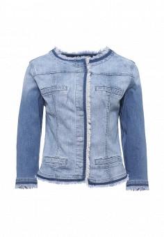 Куртка джинсовая, oodji, цвет: голубой. Артикул: OO001EWSFW34. Женская одежда / Верхняя одежда / Джинсовые куртки