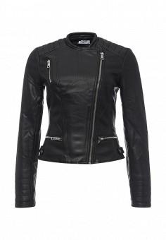 Куртка кожаная, Paccio, цвет: черный. Артикул: PA060EWQOD89. Женская одежда / Верхняя одежда / Косухи
