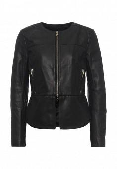 Куртка кожаная, Patrizia Pepe, цвет: черный. Артикул: PA748EWPAF12. Женская одежда / Верхняя одежда / Кожаные куртки