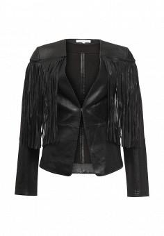 Куртка кожаная, Patrizia Pepe, цвет: черный. Артикул: PA748EWPTQ56. Женская одежда / Верхняя одежда / Кожаные куртки