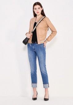 Куртка кожаная, Patrizia Pepe, цвет: бежевый, серебряный. Артикул: PA748EWTUR35. Женская одежда / Верхняя одежда / Кожаные куртки