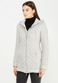 Пуховик, Patrizia Pepe, цвет: бежевый, серый. Артикул: PA748EWTUR60. Премиум / Одежда / Верхняя одежда / Пуховики и зимние куртки