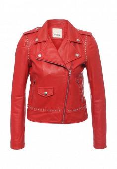 Куртка кожаная, Pinko, цвет: красный. Артикул: PI754EWOID68. Женская одежда / Верхняя одежда / Кожаные куртки