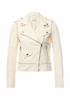 Куртка кожаная, Pinko, цвет: бежевый. Артикул: PI754EWOID70. Женская одежда / Верхняя одежда / Кожаные куртки