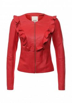 Куртка кожаная, Pinko, цвет: красный. Артикул: PI754EWOID71. Женская одежда / Верхняя одежда / Кожаные куртки