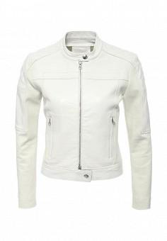 Куртка кожаная, Pinko, цвет: белый. Артикул: PI754EWOIE42. Женская одежда / Верхняя одежда / Кожаные куртки
