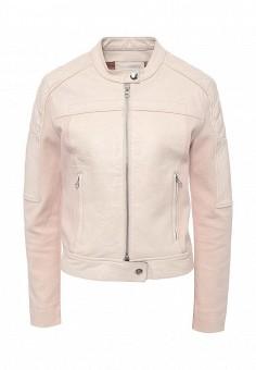 Куртка кожаная, Pinko, цвет: розовый. Артикул: PI754EWOIE43. Женская одежда / Верхняя одежда / Кожаные куртки