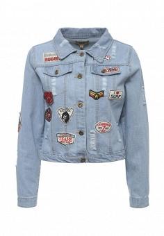 Куртка джинсовая, QED London, цвет: голубой. Артикул: QE001EWROL76. Женская одежда / Верхняя одежда / Джинсовые куртки