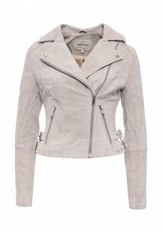 Куртка кожаная, River Island, цвет: серый. Артикул: RI004EWRRH69. Женская одежда / Верхняя одежда / Кожаные куртки