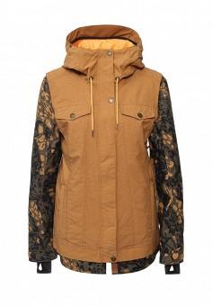 Куртка горнолыжная, Roxy, цвет: коричневый. Артикул: RO165EWKCG32. Женская одежда / Верхняя одежда / Парки